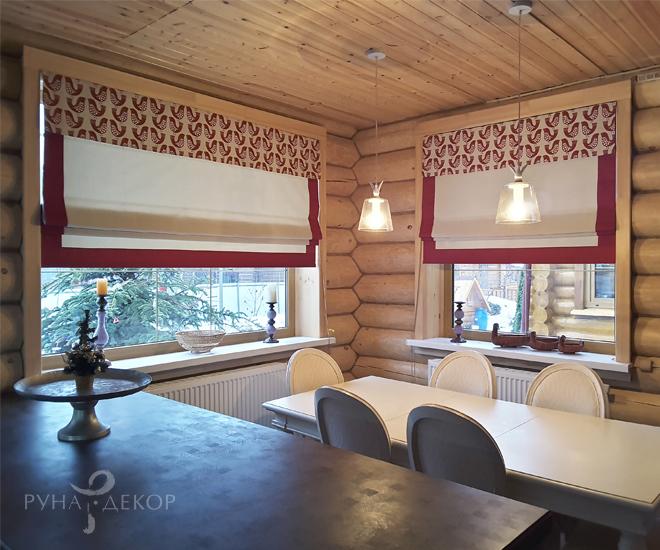 Римские шторы в деревянном доме 01